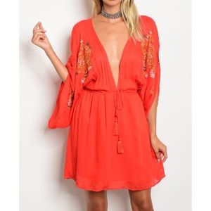 Dresses & Skirts - FANCYNE ORANGE EMBROIDERY DRESS